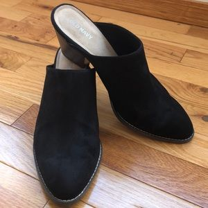 Black faux-suede mule heels - size 9